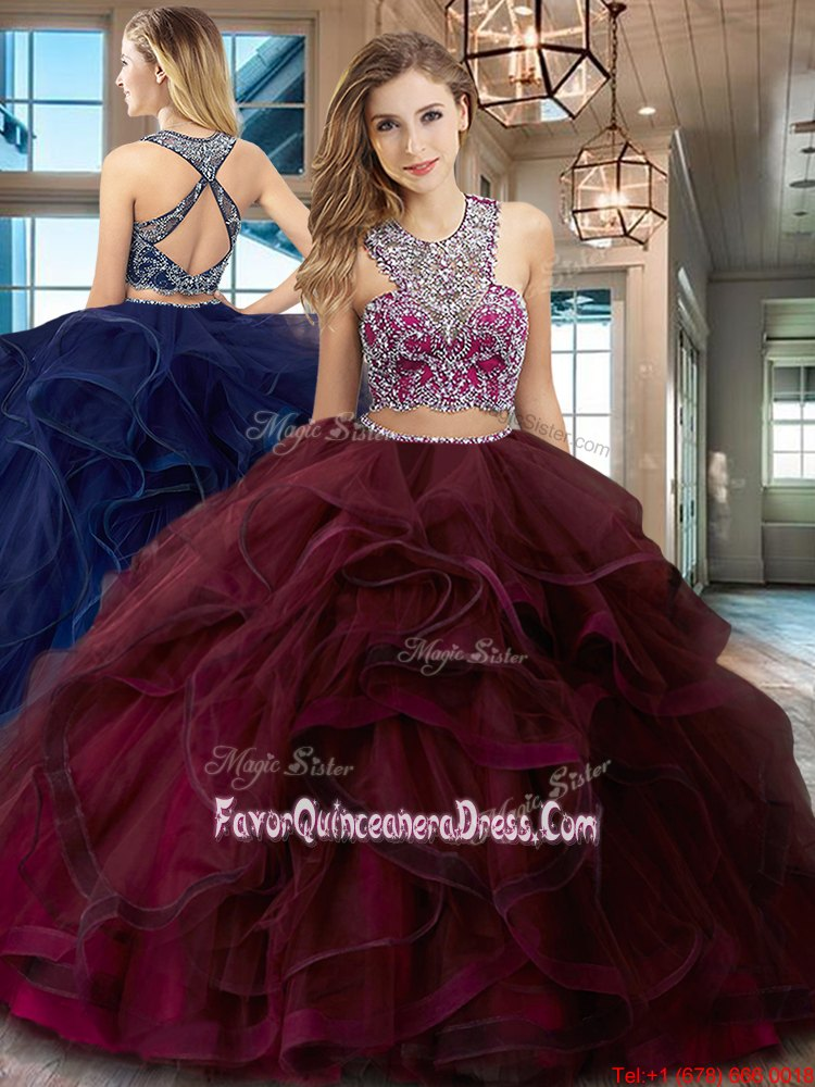 Deluxe Scoop Sleeveless Brush Train Beading and Ruffles Criss Cross 15 Quinceanera Dress