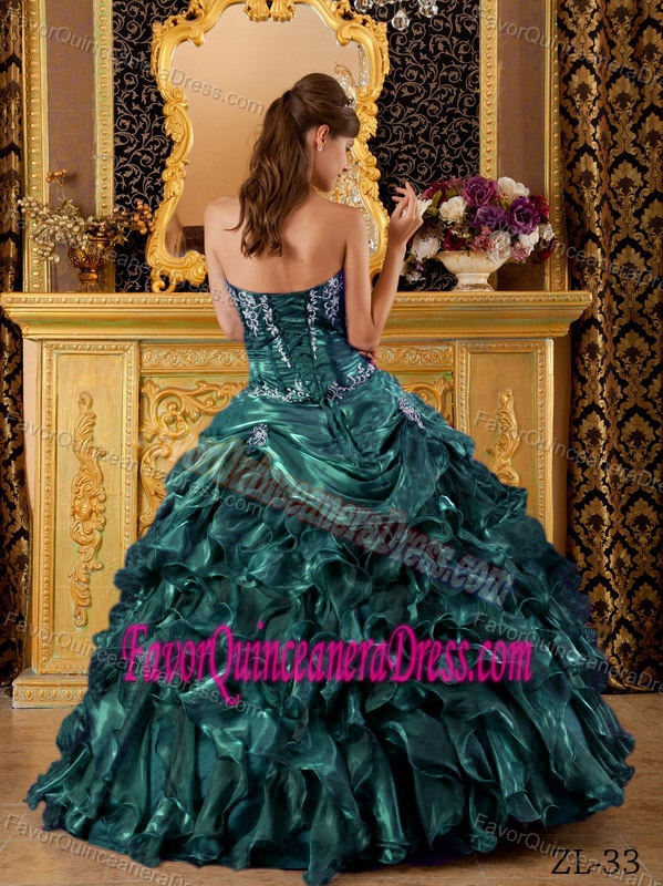 Perfect Appliqued Ruffled Teal Organza Quinces Dresses in The Mainstream