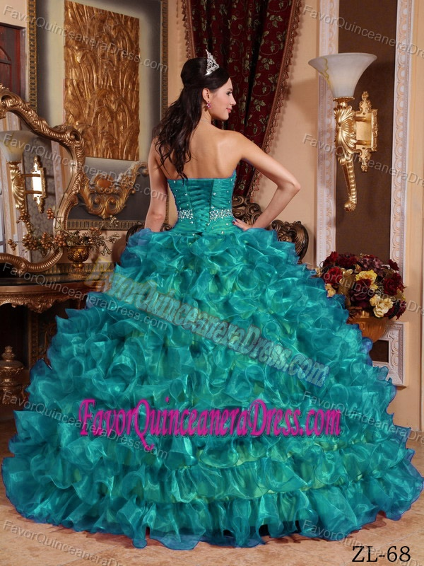 Amazing Beaded Ruffled Teal Organza Quinceanera Dresses on Promotion