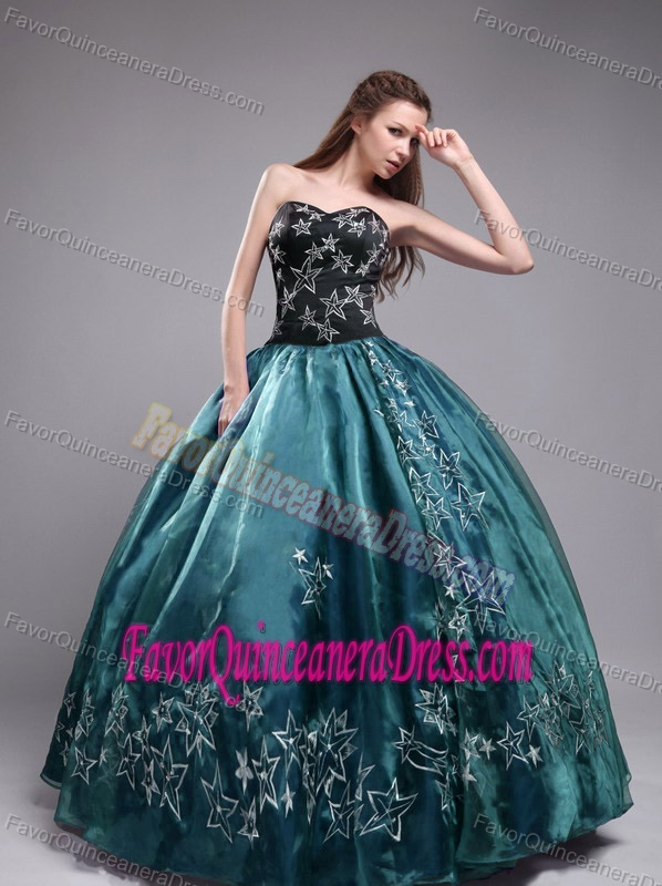 Newest Sweetheart Black and Green Organza Quinceanera Dress with Embroidery