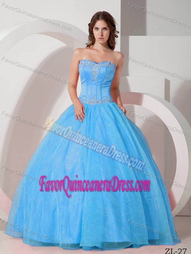 Beautiful Sweetheart Appliqued Beaded Quince Dresses in Satin and Organza