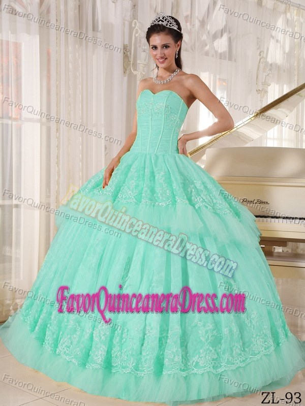 Beautiful Sweetheart Organza Appliqued for Quince Dresses in Light Blue