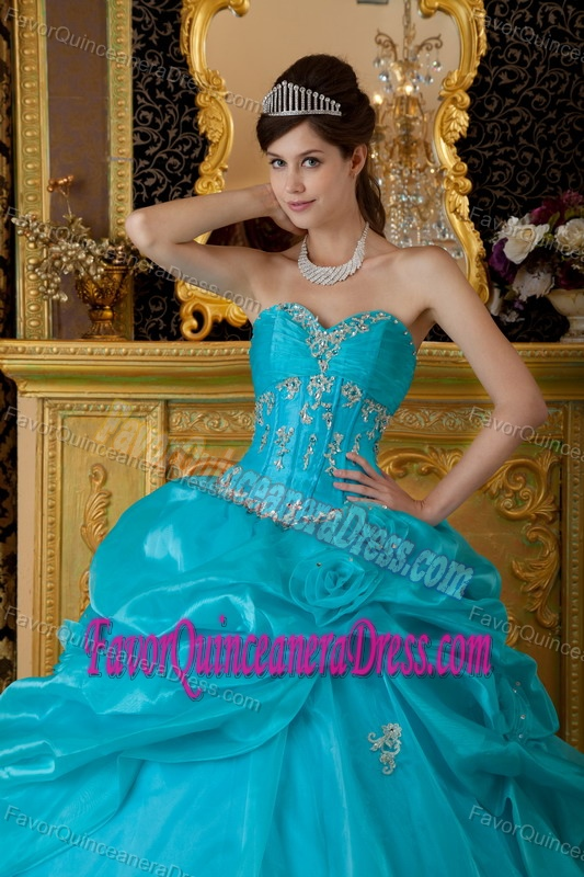 Latest Teal Sweetheart Appliqued Quinceanera Dress with Pick Ups in Organza