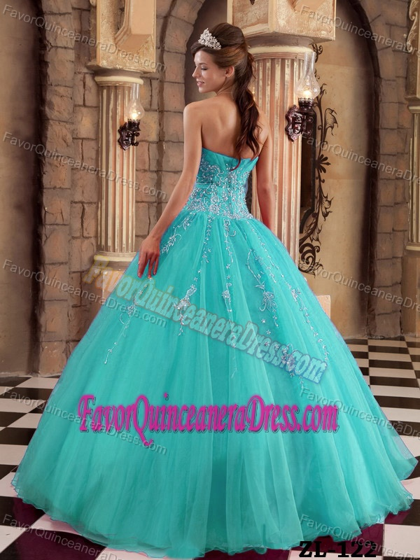 Turquoise Pretty Strapless Organza Quinceanera Dress with Shining Beading