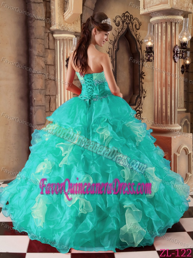 New Strapless Floor-length Beaded and Ruffleed Quinceanera Dress in Organza