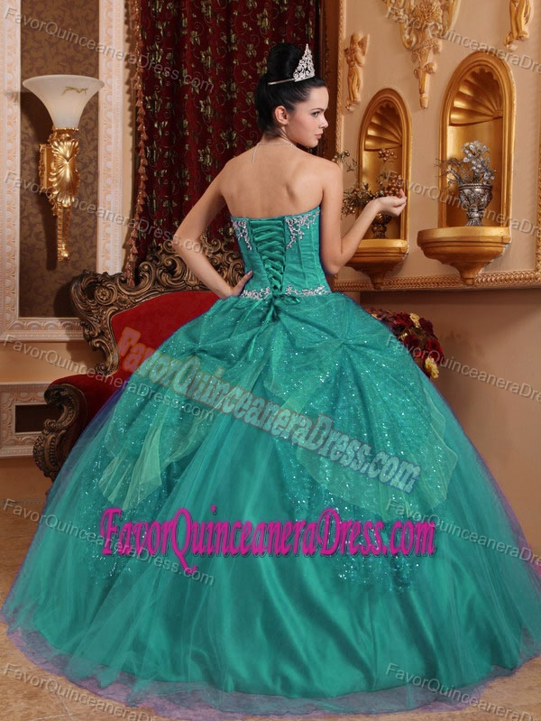 appliqued sweetheart tulle quinceanera dress in turquoise