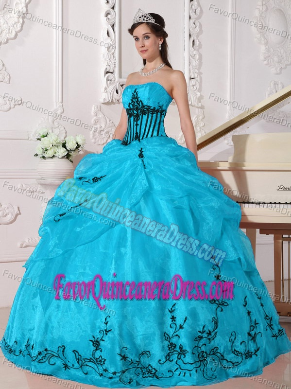 and Black Strapless Appliqued Quinceanera Dresses Made in Organza