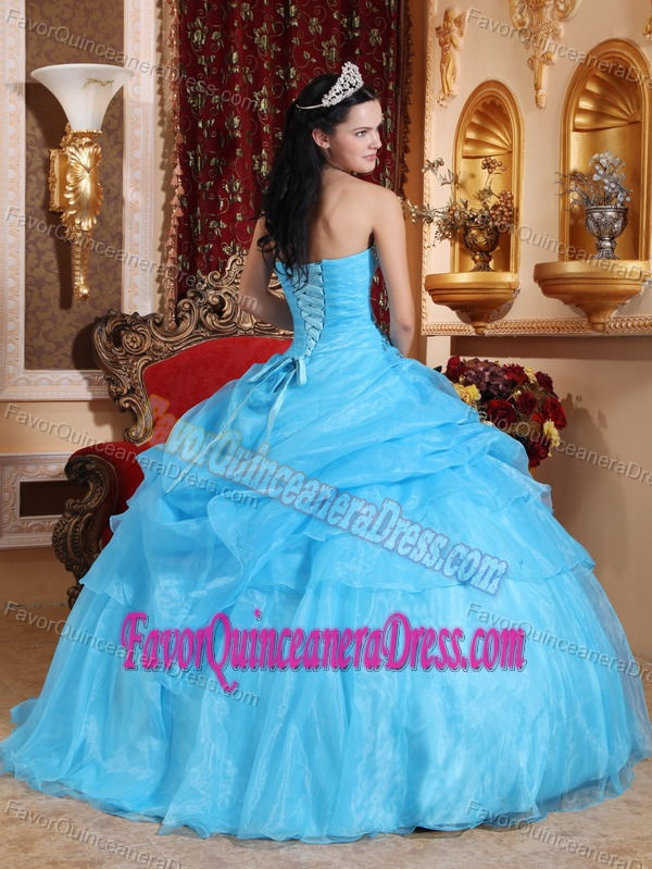 Unique Strapless Beaded Organza Quinceanera Dress with Pick Ups on Sale