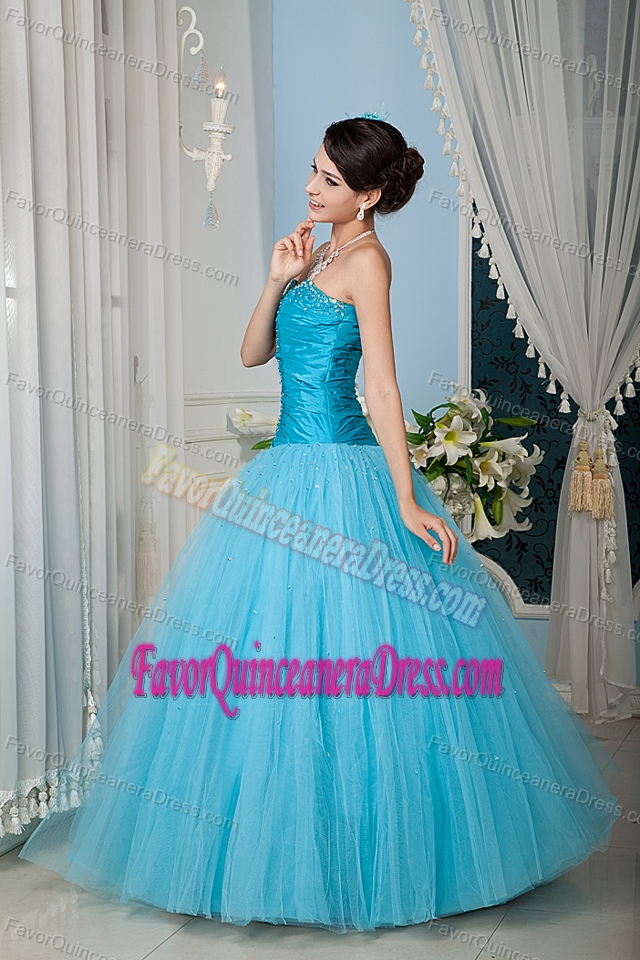 A-line Beaded Aqua Blue Quinceanera Dress in Tulle Popular Nowadays