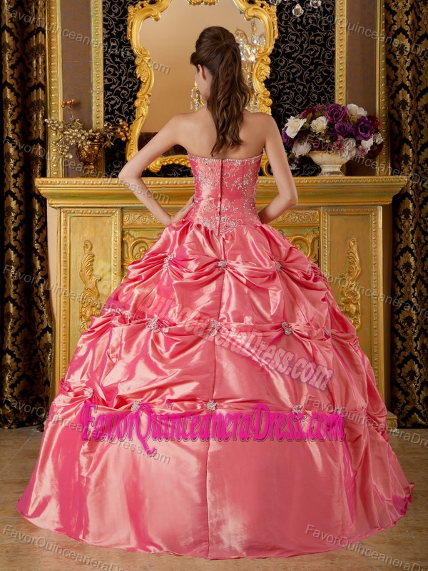 Beaded Halter Top Floor-length Quinceanera Dress with Appliques in Taffeta