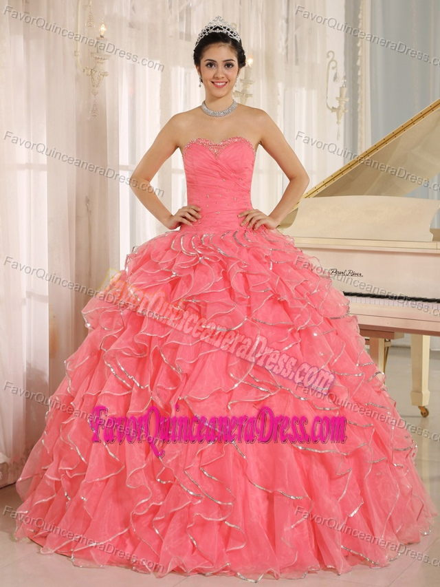 Ruffles and Beaded Quinceanera Gown Dresses with Ruffles in Coral Red