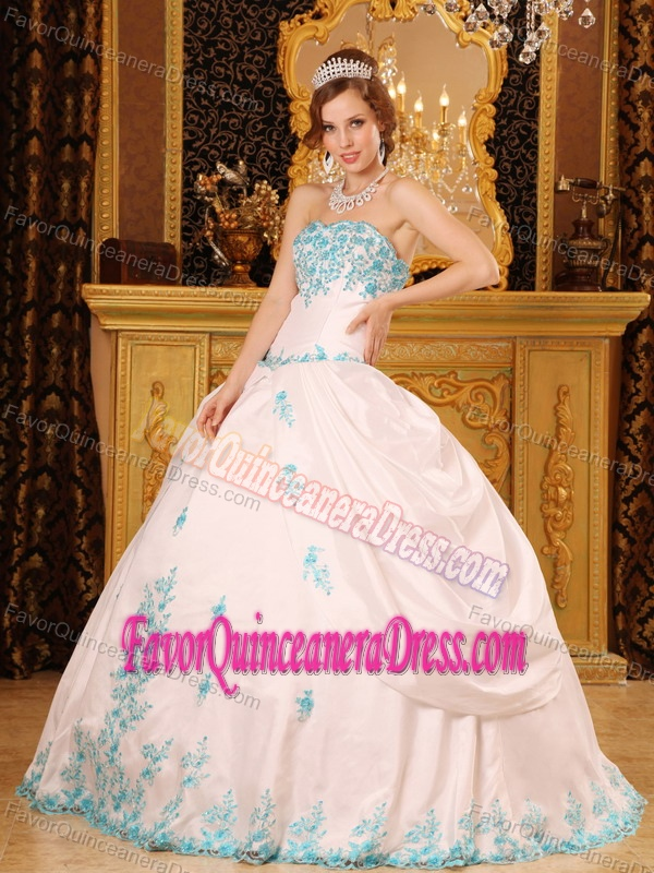 Exclusive White Taffeta Floor Length Sweet 15 Dresses With