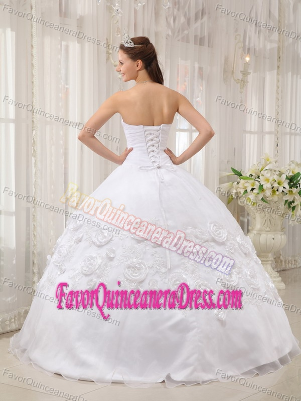 Gorgeous White Organza Satin Appliqued Quinceanera Gown Dress with Flowers
