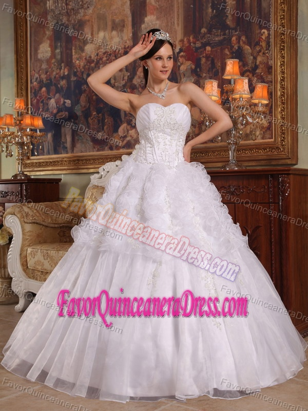 Perfect Appliqued White Organza Floor-length Quinceanera Dress in Fashion