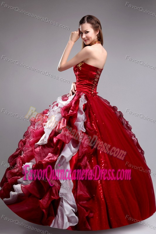 Halter Top Appliques Ruffles Wine Red and White Ritzy Dress for Quinceaneras