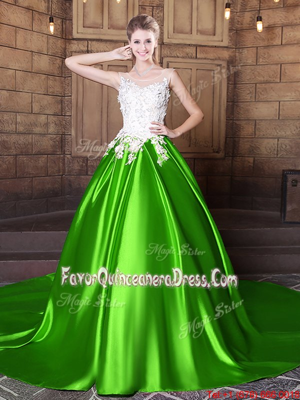 Luxurious Elastic Woven Satin Lace Up Scoop Sleeveless Floor Length Sweet 16 Dresses Appliques