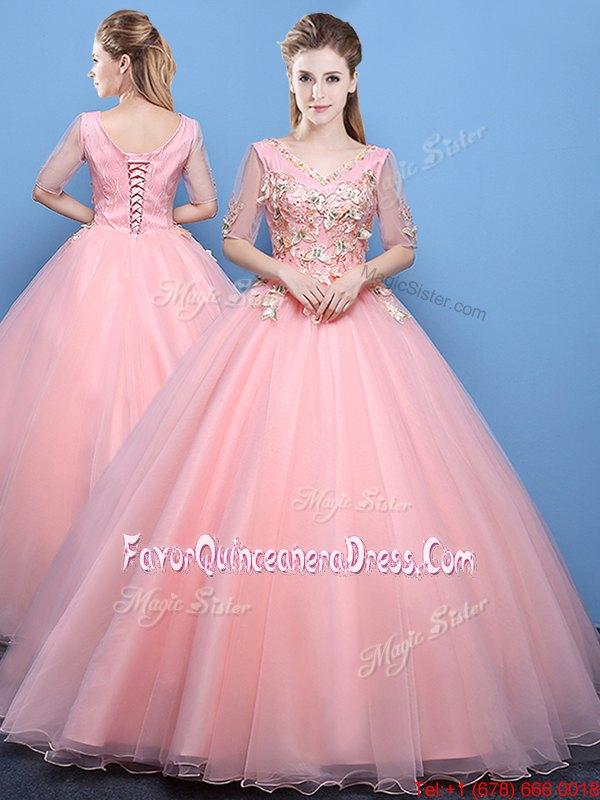 Baby Pink V-neck Lace Up Appliques Sweet 16 Dresses Half Sleeves