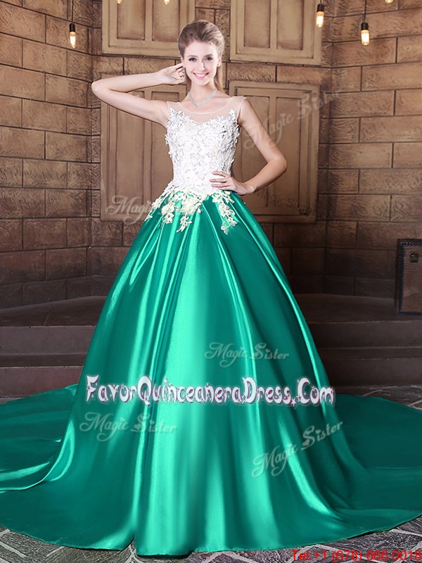 Custom Made Turquoise 15 Quinceanera Dress Military Ball and Sweet 16 and Quinceanera and For with Lace and Appliques Scoop Sleeveless Court Train Lace Up