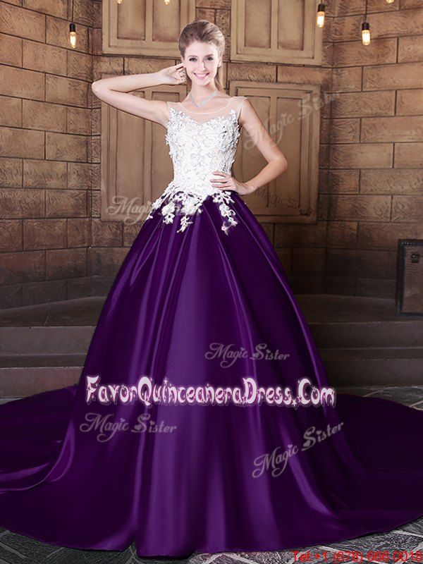 Dark Purple Ball Gowns Scoop Sleeveless Elastic Woven Satin With Train Court Train Lace Up Lace and Appliques Quinceanera Dresses