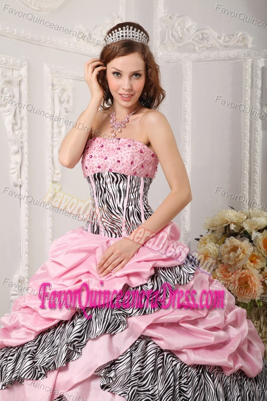 Size Pink Taffeta Ball Gown Sweet 16 Dresses with Zebra Print Online