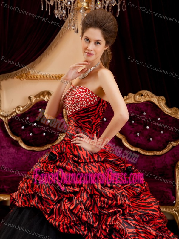 Qualified Taffeta Tulle Zebra Print Beaded Sweet 16 Dress in Red and Black