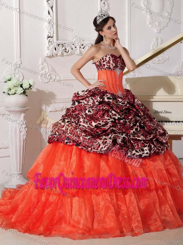 Special Style Leopard Print Organza Taffeta Dress for Quince in Multi-color