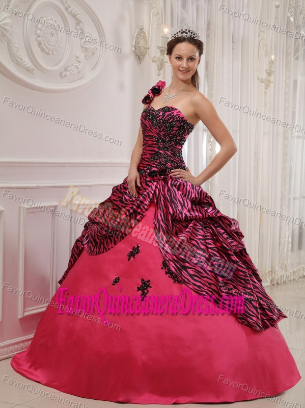 Exclusive One Shoulder Zebra Print Quinceanera Gown in Hot Pink and Black
