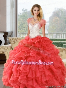 Coral Red Beading and Ruffles Sweetheart Quinceanera Dresses for 2015