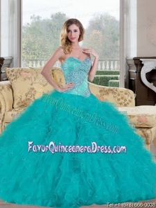 Exquisite 2015 Quinceanera Dresse with Beading and Ruffles