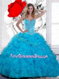 2015 Inexpensive Beading and Ruffles Sweetheart Quinceanera Gown in Teal