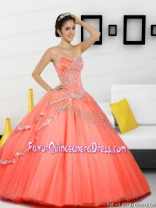 Luxurious Beading Sweetheart 2015 Quinceanera Gown