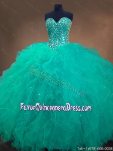 2015 Cheap Sweetheart Ball Gown Sweet 16 Dresses in Turquoise