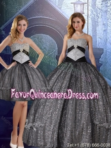 Discount Sweetheart Floor Length Sequined Detachable Quinceanera Dresses with Appliques