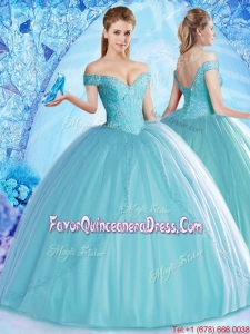 2017 Lovely Off the Shoulder Aqua Blue Quinceanera Dress with Beading