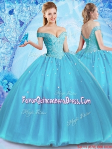 Perfect Off the Shoulder Quinceanera Dress with Venetian Pearl