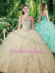 Pretty Ball Gowns Beading and Ruffles Sweet 16 Dresses