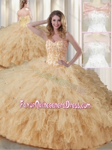 2016 Luxurious Sweetheart Beading Quinceanera Dresses in Champagne