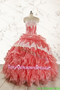 2015 Fashionable Strapless Watermelon Quinceanera Dresses