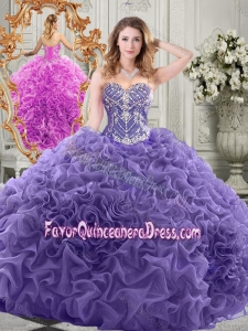 Elegant Brush Train Lavender Quinceanera Gown with Beaded Bodice and Ruffles