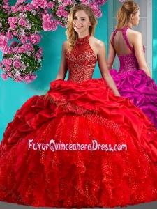 Feminine Halter Top Brush Train Quinceanera Dress with Beading and Ruffles