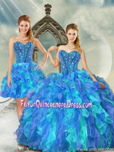 New Style Beading and Ruffles Multi Color Quinceanera Dresses for 2015