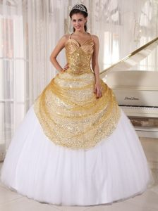 Impressive Spaghetti Tulle Dresses for Quinceanera in Champagne and White