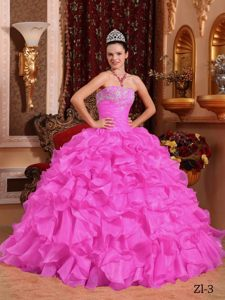 Strapless Beaded Lace-up Organza Sweet Quinceanera Dresses in Rose Pink