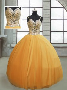 Affordable Gold Tulle Lace Up Sweet 16 Quinceanera Dress Sleeveless Floor Length Beading