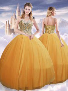 High Class Gold Sleeveless Beading Floor Length 15 Quinceanera Dress