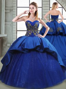 Fine Sweetheart Sleeveless 15th Birthday Dress Court Train Beading and Appliques and Embroidery Blue Taffeta