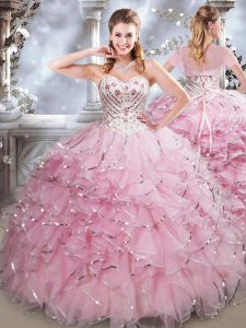 Sleeveless Floor Length Beading and Ruffles Lace Up Sweet 16 Dresses with Baby Pink