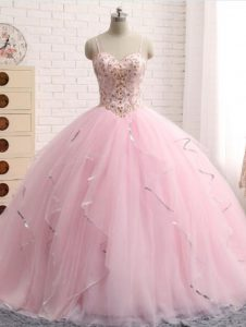 Baby Pink Sleeveless Tulle Brush Train Lace Up Sweet 16 Dresses for Military Ball and Sweet 16 and Quinceanera