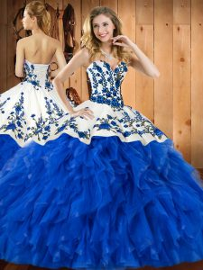 Decent Blue Ball Gowns Tulle Sweetheart Sleeveless Embroidery and Ruffles Floor Length Lace Up Quinceanera Dress