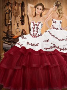 Graceful Lace Up Sweet 16 Dress Wine Red for Military Ball and Sweet 16 and Quinceanera with Embroidery and Ruffled Layers Sweep Train